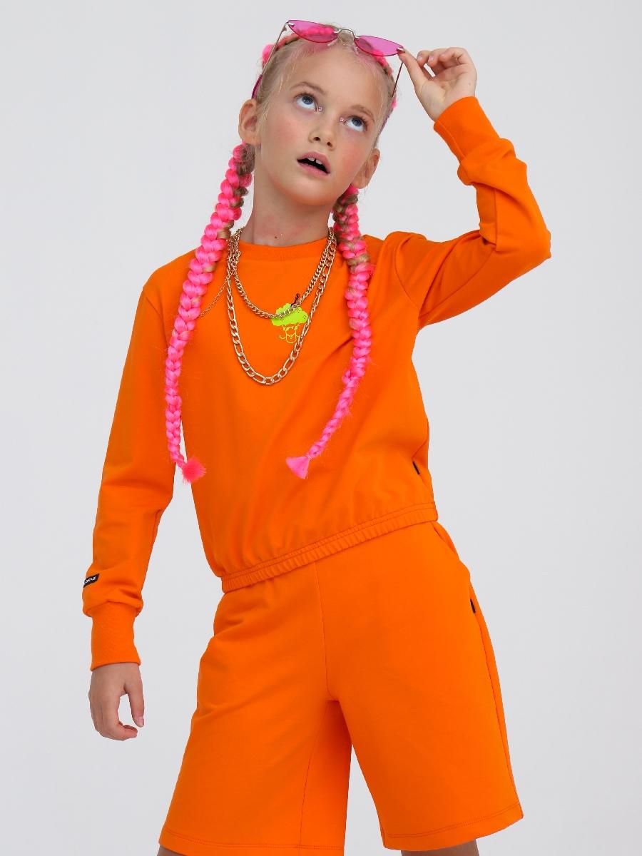 Комплект:свитшот и шорты прямые с завышенной талией, цвет: оранжевый