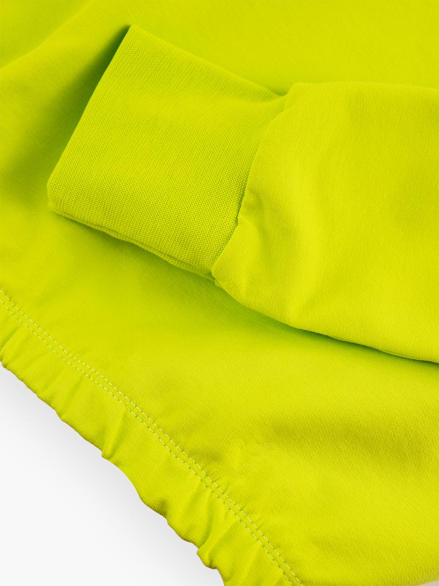 Комплект:свитшот и шорты прямые с завышенной талией, цвет: салатовый