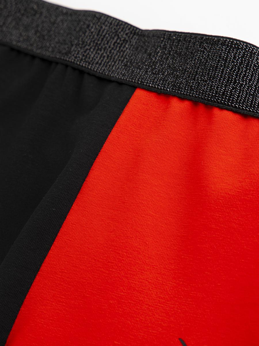 Комплект: топ укороченный и бриджи облегающие со средней посадкой, цвет: красный,черный