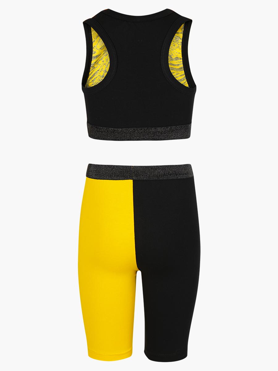 Комплект: топ укороченный и бриджи облегающие со средней посадкой, цвет: желтый,черный