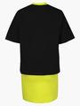 Комплект: футболка укороченная и юбка прямого силуэта, цвет: черный,салатовый