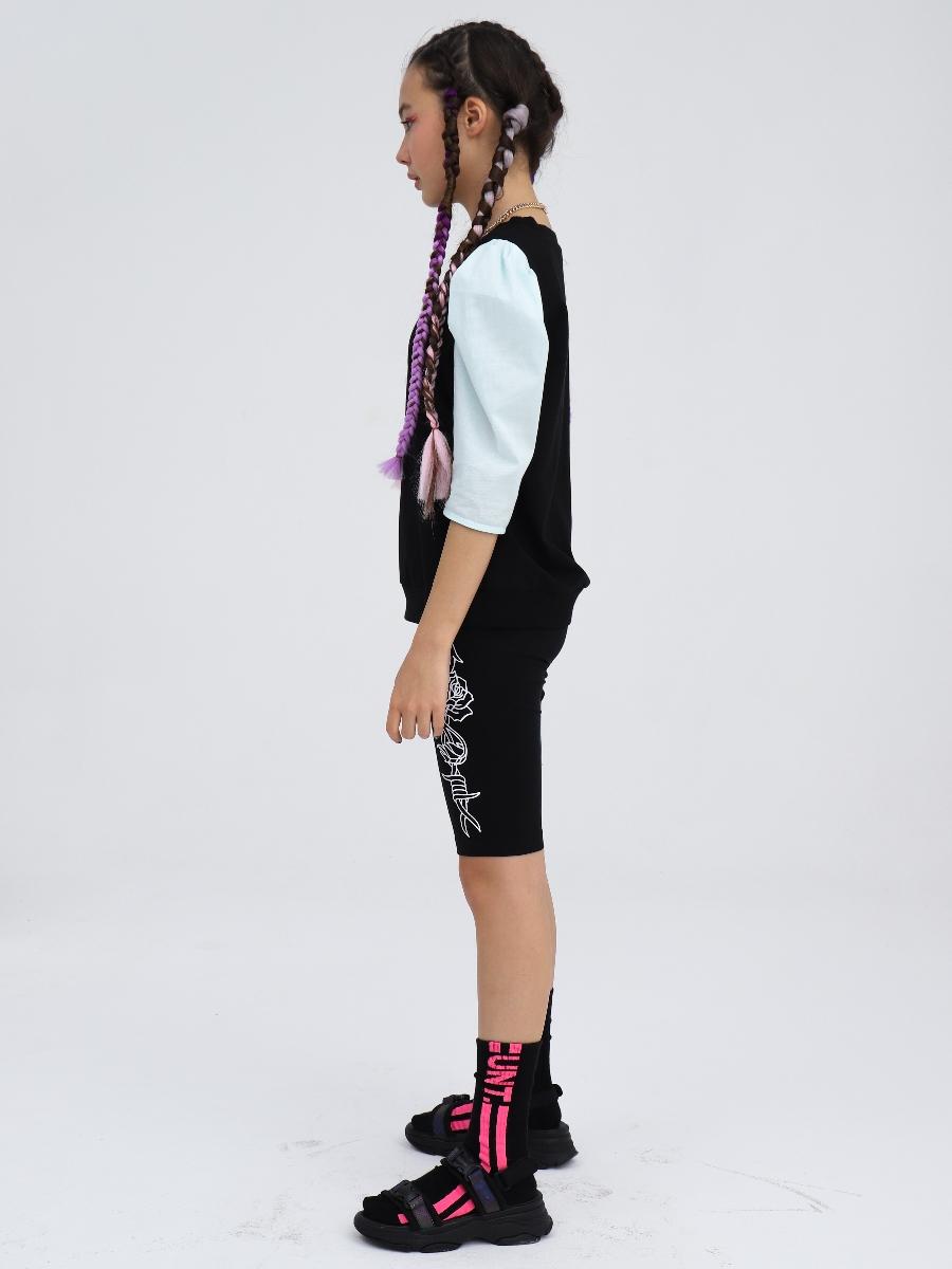 Блузка прилегающего силуэта, цвет: черный,мята