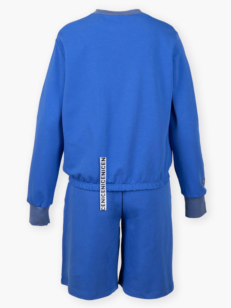 Комплект:свитшот и шорты прямые с завышенной талией, цвет: джинсовый