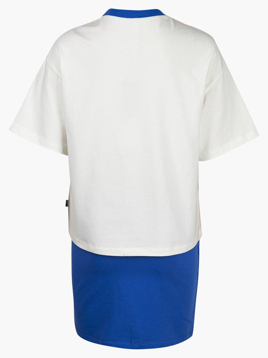 Комплект: футболка укороченная и юбка прямого силуэта, цвет: молоко,джинса