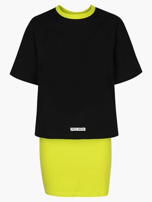 Комплект: футболка укороченная и юбка прямого силуэта