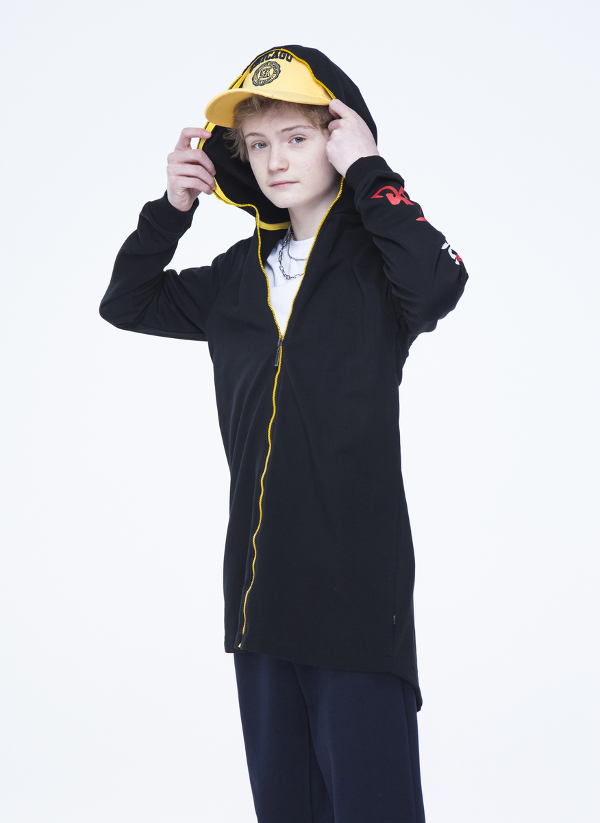 Кардиган удлиненный для мальчика, цвет: черный