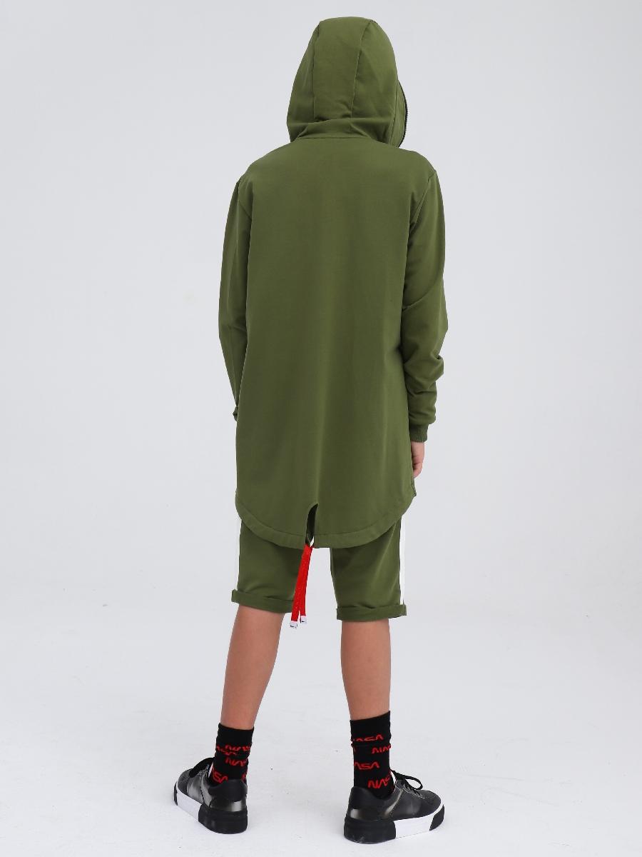 Кардиган удлиненный для мальчика, цвет: темный хаки