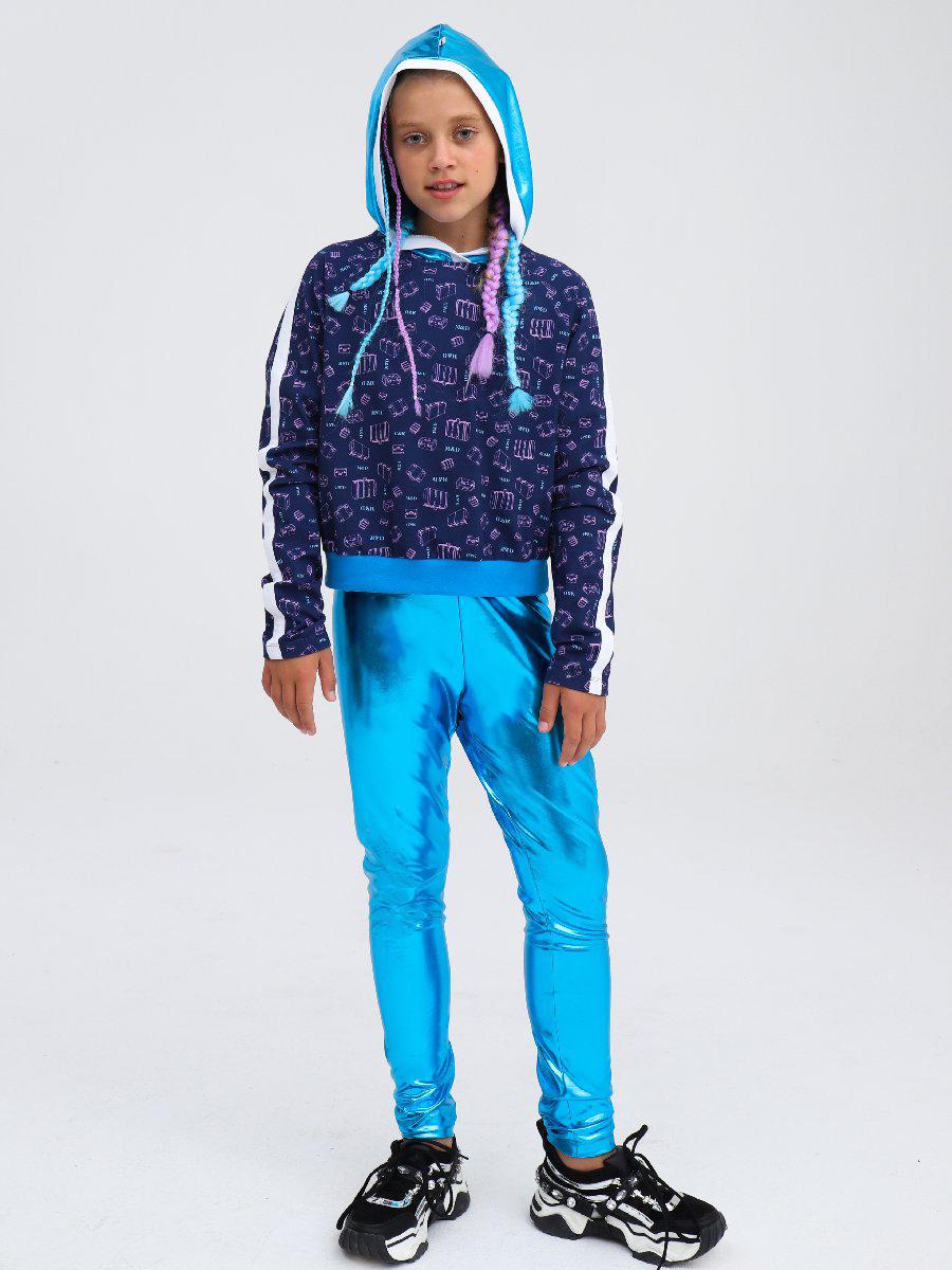Комплект:свитшот укороченный и лосины со средней посадкой, цвет: голубой