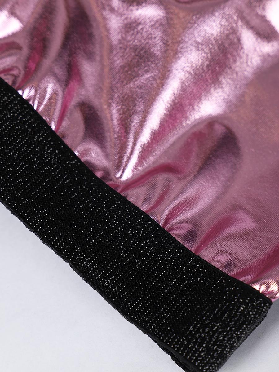 Комплект: топ укороченный и лосины облегающие со средней посадкой, цвет: леденцово-розовый