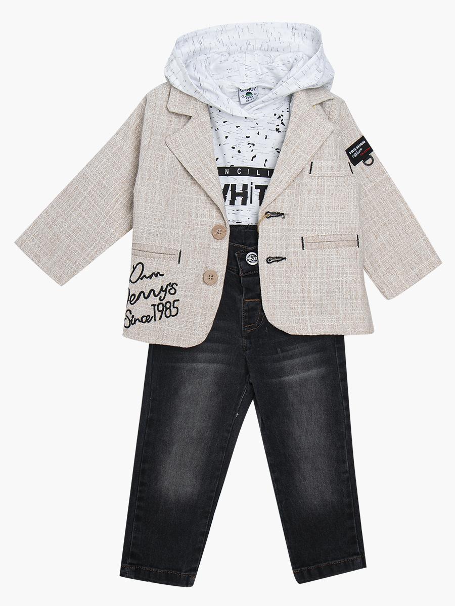 Комплект для мальчика: толстовка, брюки джинсовые и пиджак, цвет: бежевый