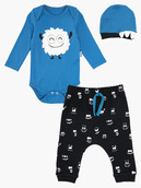 Комплект для мальчика: боди, ползунки и шапочка