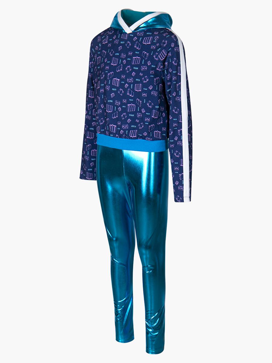 Комплект: свитшот укороченный и лосины со средней посадкой, цвет: голубой