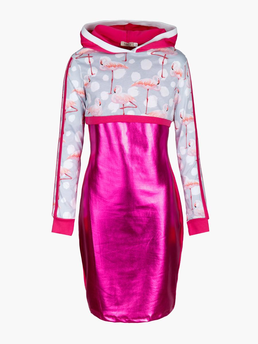 Комплект: свитшот укороченный и платье прилегающего силуэта, цвет: фуксия,серый