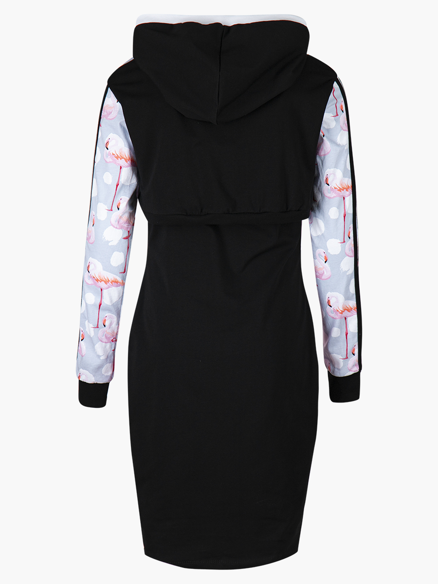 Комплект: свитшот укороченный и платье прилегающего силуэта, цвет: черный,серый