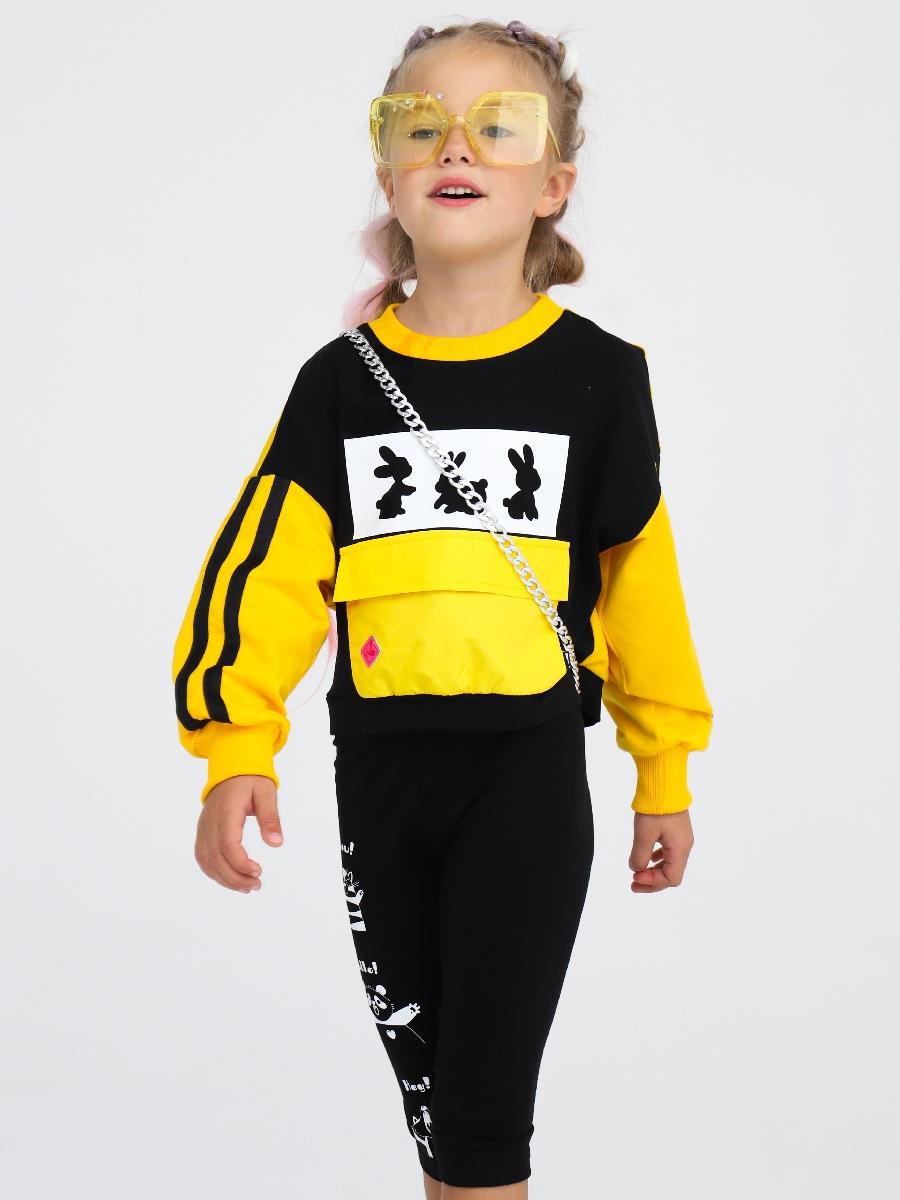 Свитшот укороченный прямого силуэта для девочки, цвет: желтый,черный
