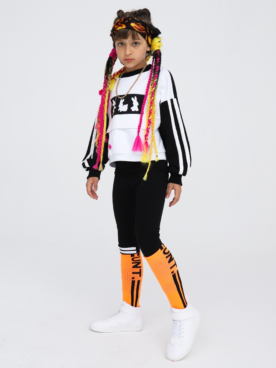 Свитшот укороченный прямого силуэта для девочки, цвет: белый,черный