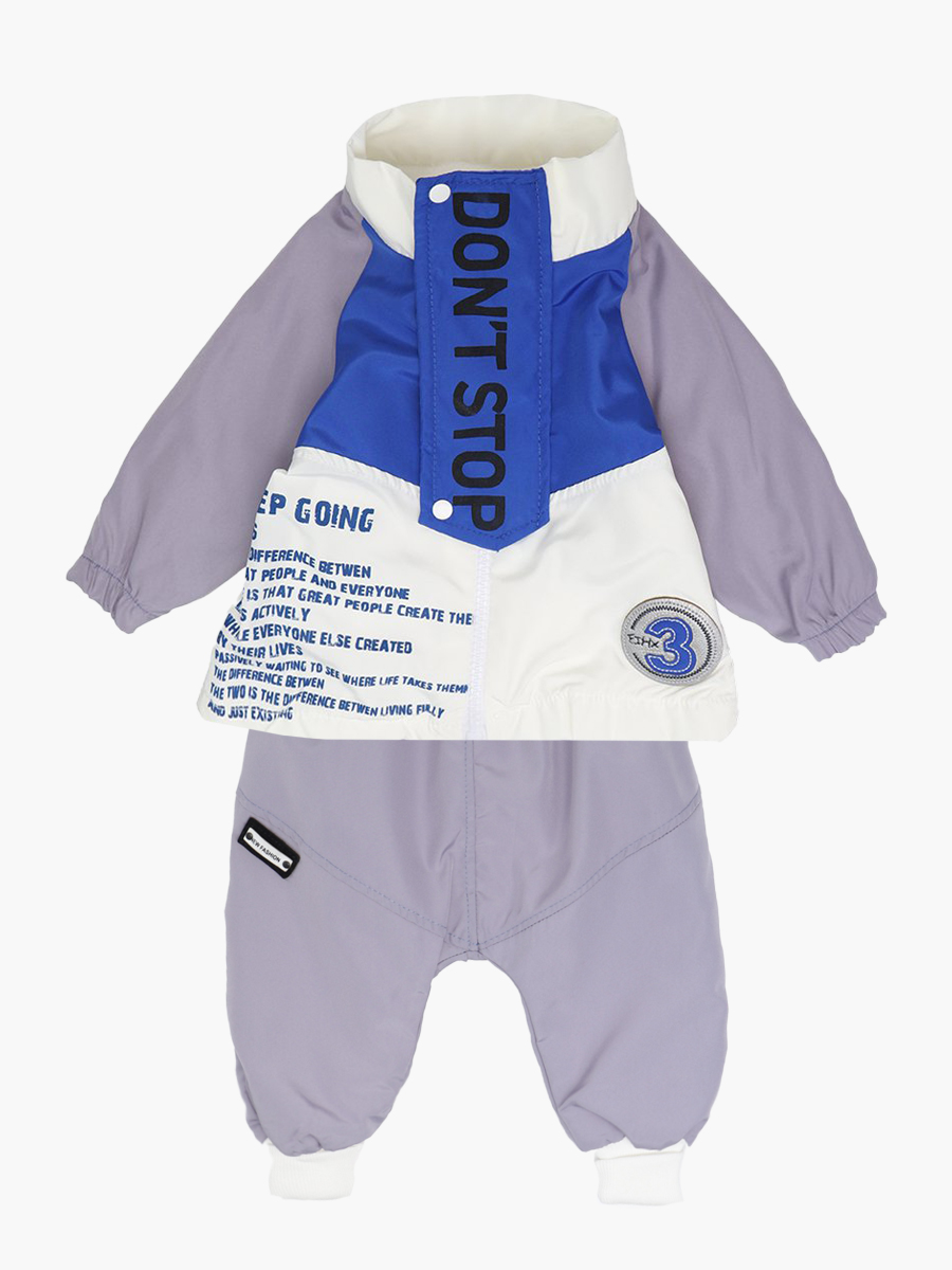 Комплект для мальчика: кофточка трикотажная, ветровка и штанишки болоньевые, цвет: синий