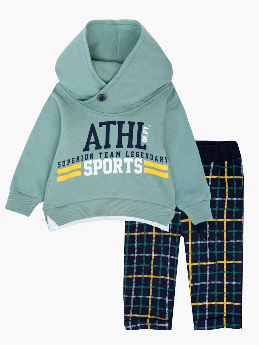 Комплект для мальчика: толстовка и штанишки, цвет: мятный