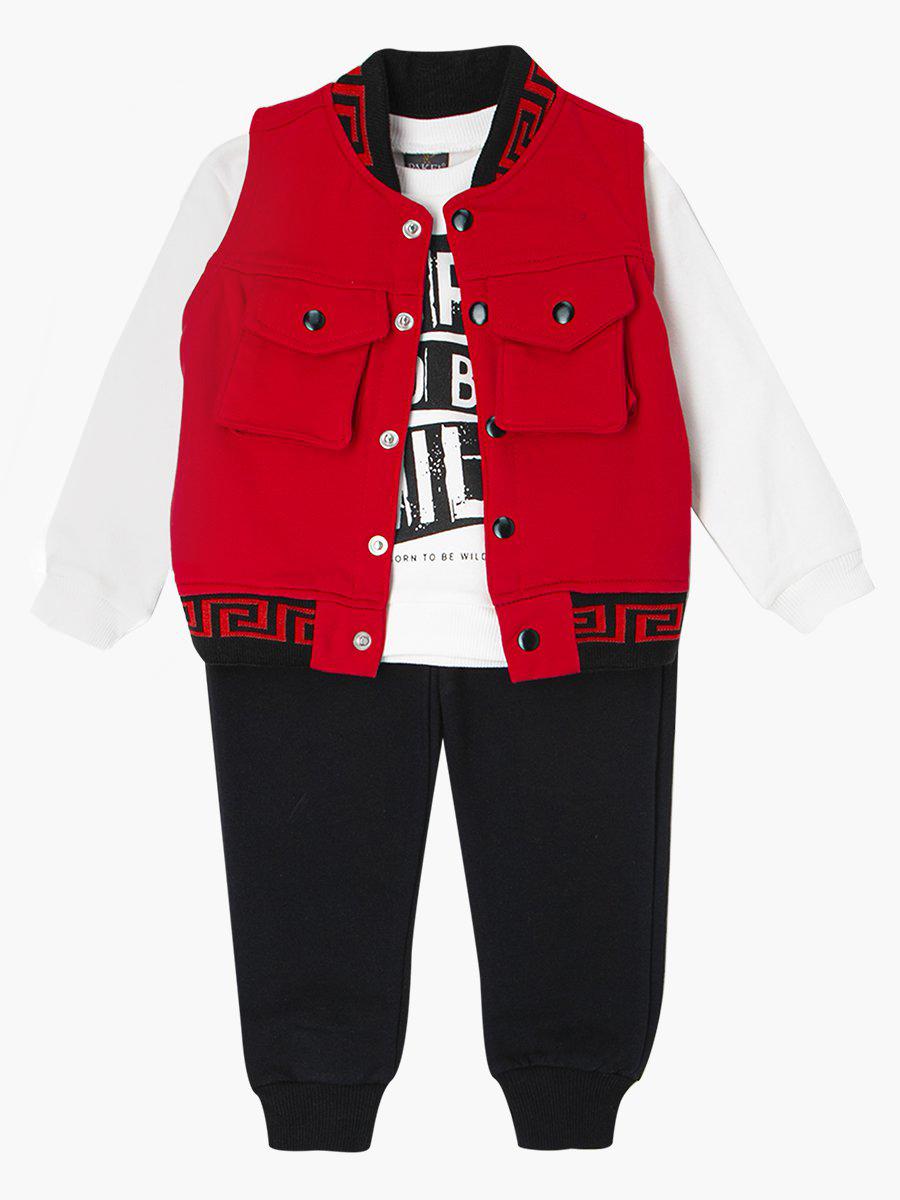 Комплект для мальчика: кофточка, штанишки и жилет, цвет: красный