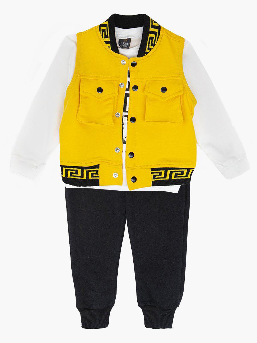 Комплект для мальчика: кофточка, штанишки и жилет, цвет: желтый