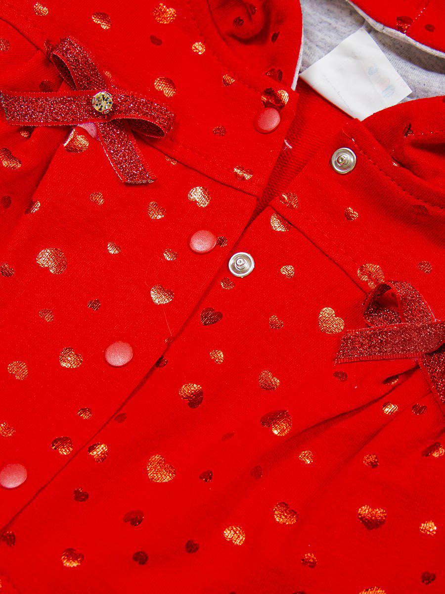 Комплект для девочки: лонгслив, толстовка и штанишки, цвет: красный