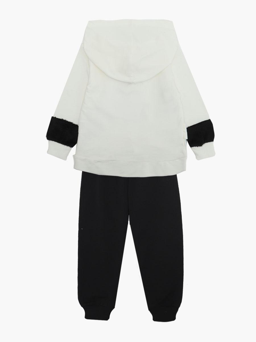 Комплект для девочки: толстовка и штанишки, цвет: молочный