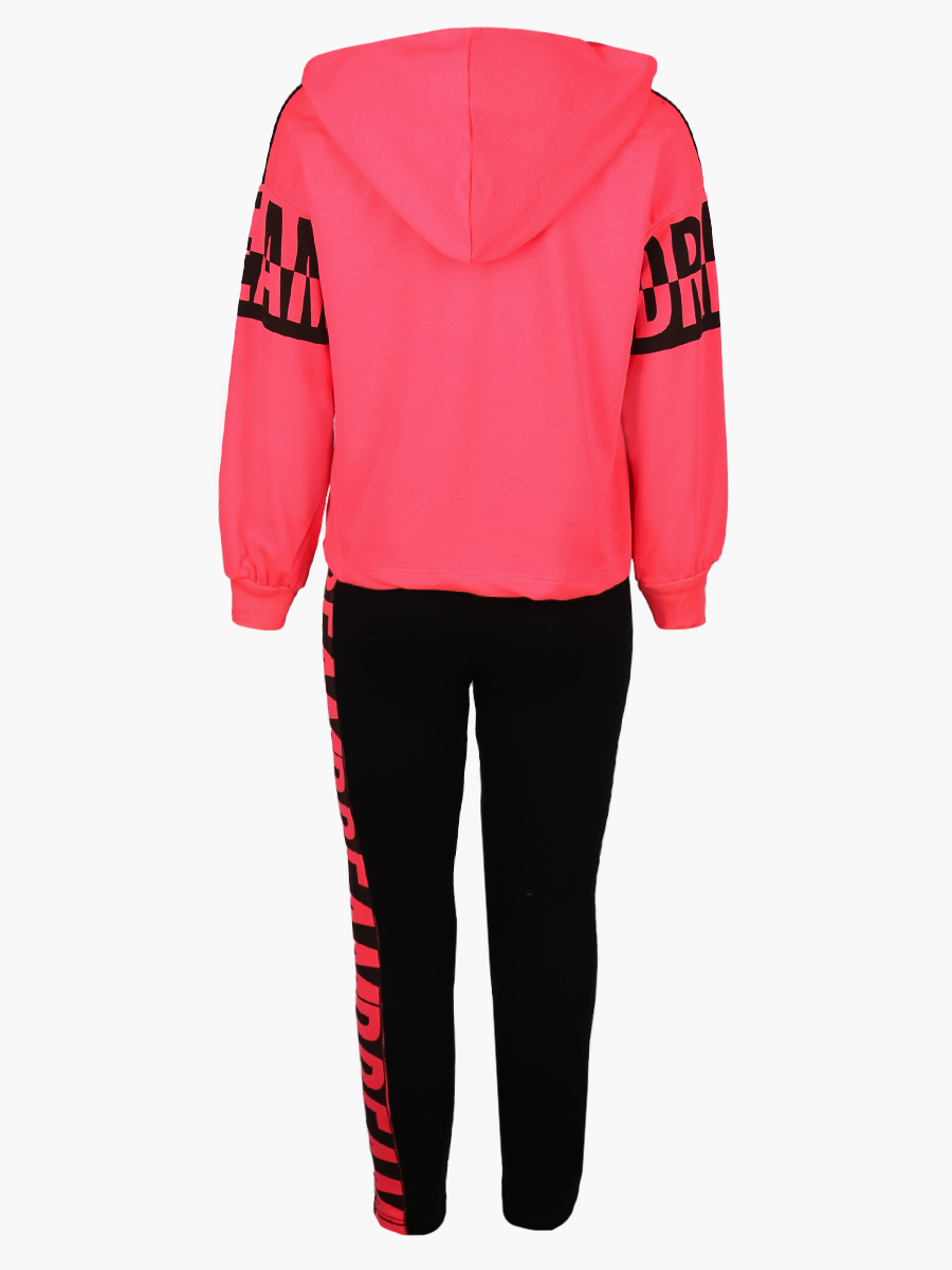 Комплект для девочки: толстовка и штанишки, цвет: неон розовый