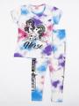 Комплект для девочки: футболка и лосины, цвет: синий