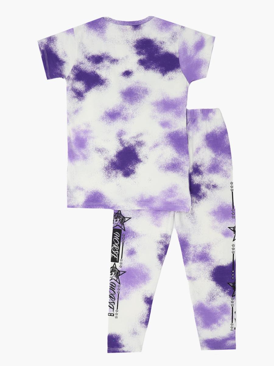 Комплект для девочки: футболка и лосины, цвет: фиолетовый