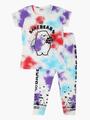 Комплект для девочки: футболка и лосины, цвет: бирюзовый