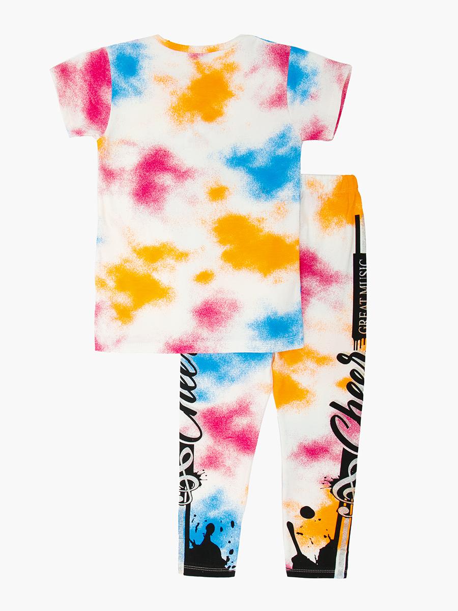 Комплект для девочки: футболка и лосины, цвет: оранжевый