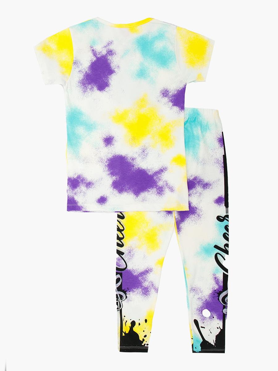 Комплект для девочки: футболка и лосины, цвет: желтый