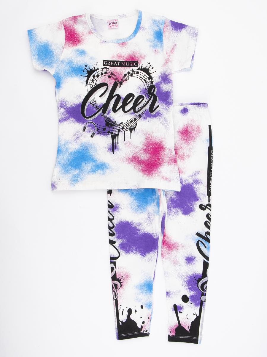 Комплект для девочки: футболка и лосины, цвет: розовый