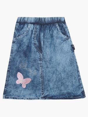 Юбка джинсовая, отделка стразы