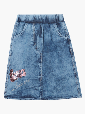 Юбка джинсовая, отделка пайетки