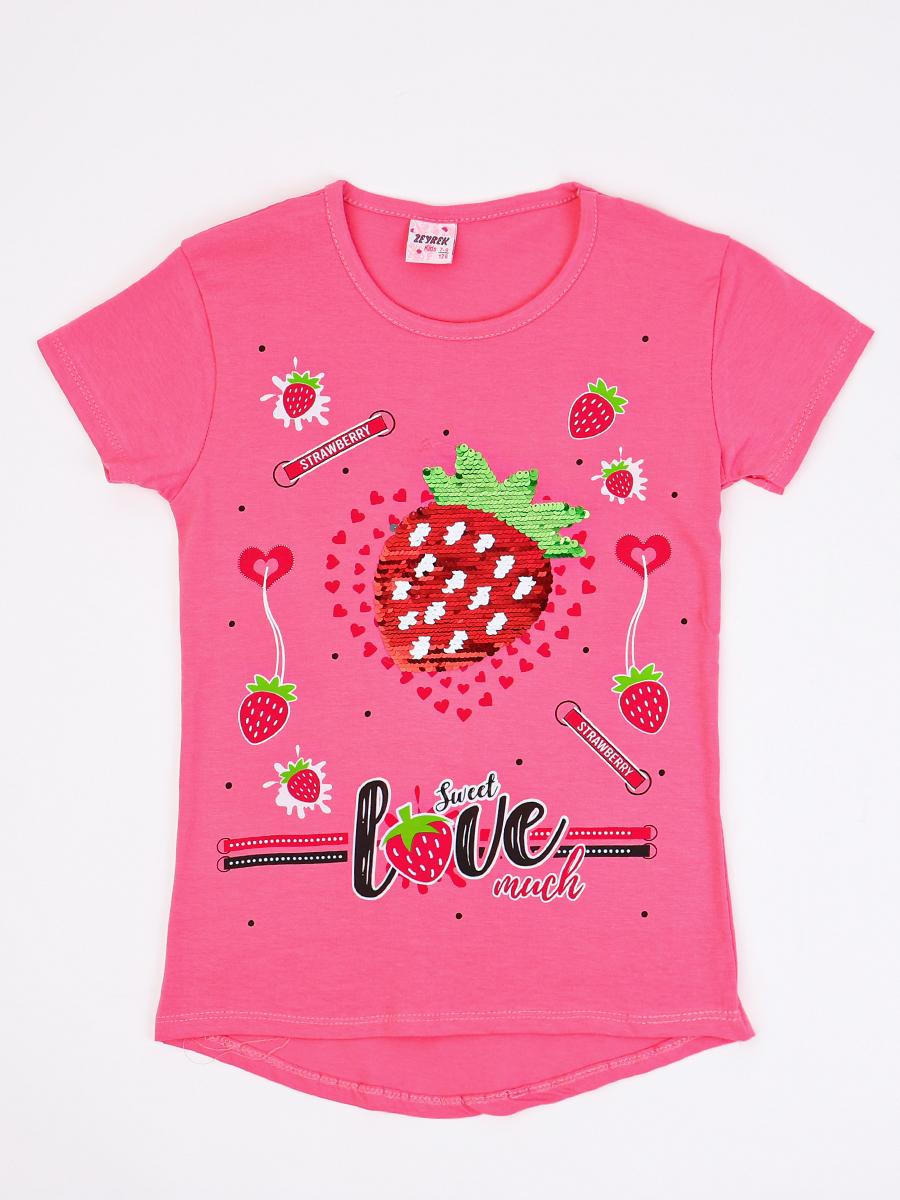 Джемпер для девочки декорирован двустронними пайетками, цвет: коралловый