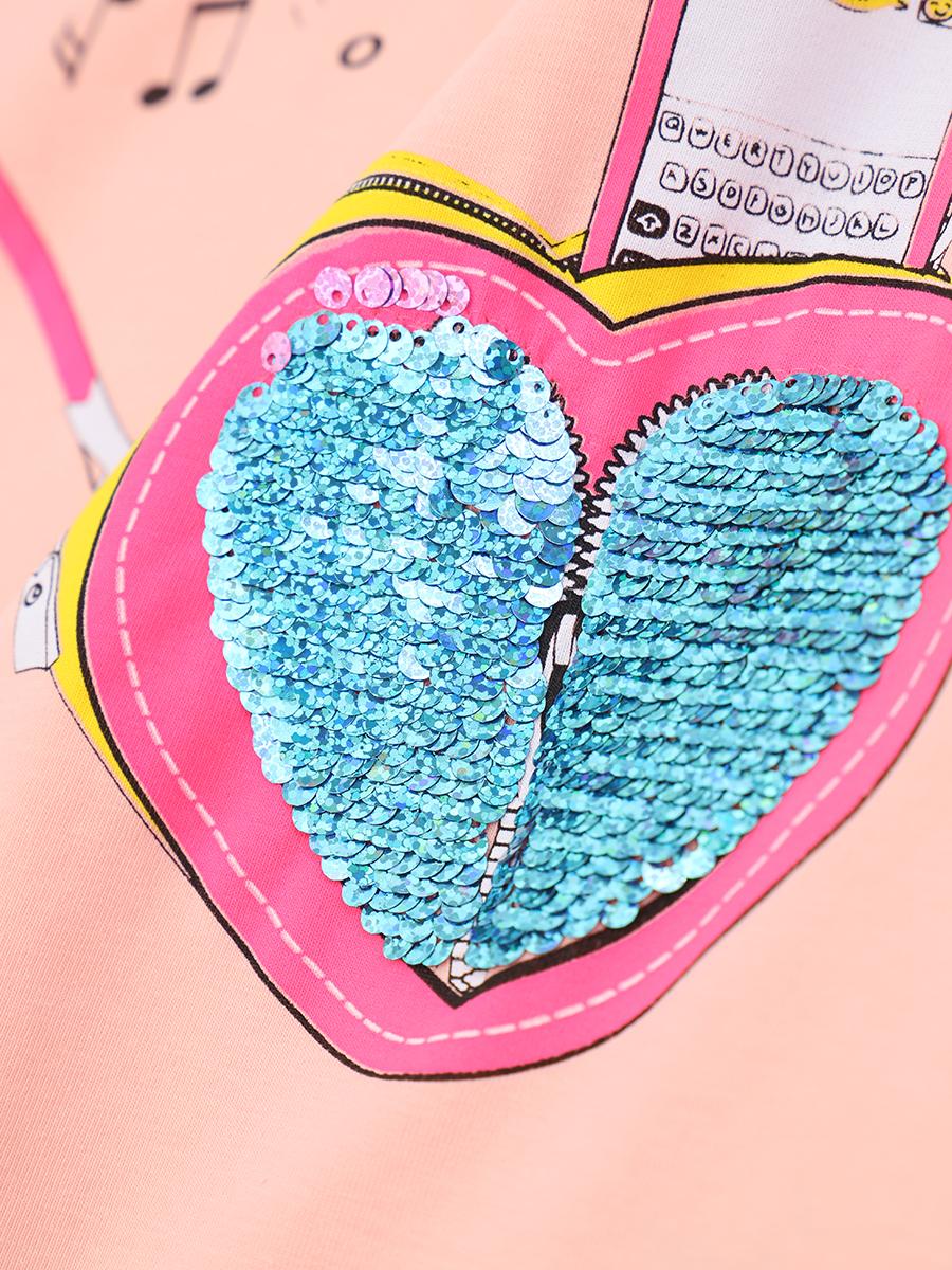 Джемпер для девочки декорирован двустронними пайетками, цвет: пудра