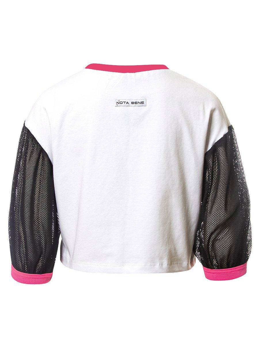 Блуза (лонгслив укороченый) из кулирки с лайкрой, цвет: белый