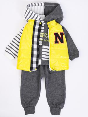Комплект для мальчика: толстовка, штанишки и жилет болоньевый