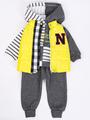 Комплект для мальчика: толстовка, штанишки и жилет болоньевый, цвет: желтый