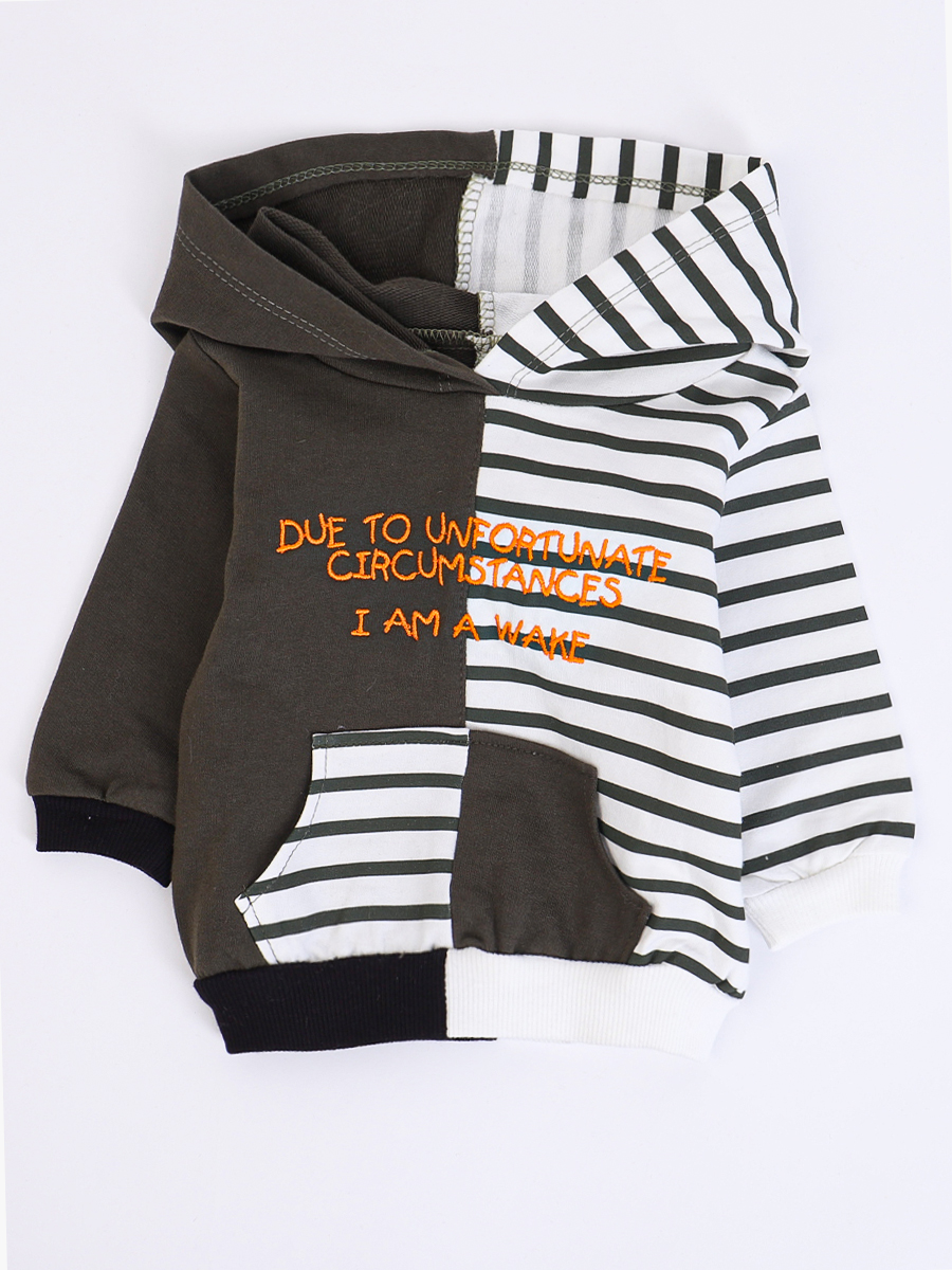 Комплект для мальчика: толстовка, штанишки и жилет болоньевый, цвет: оранжевый
