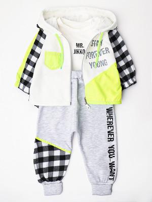 Комплект для мальчика: кофточка, рубашка, штанишки