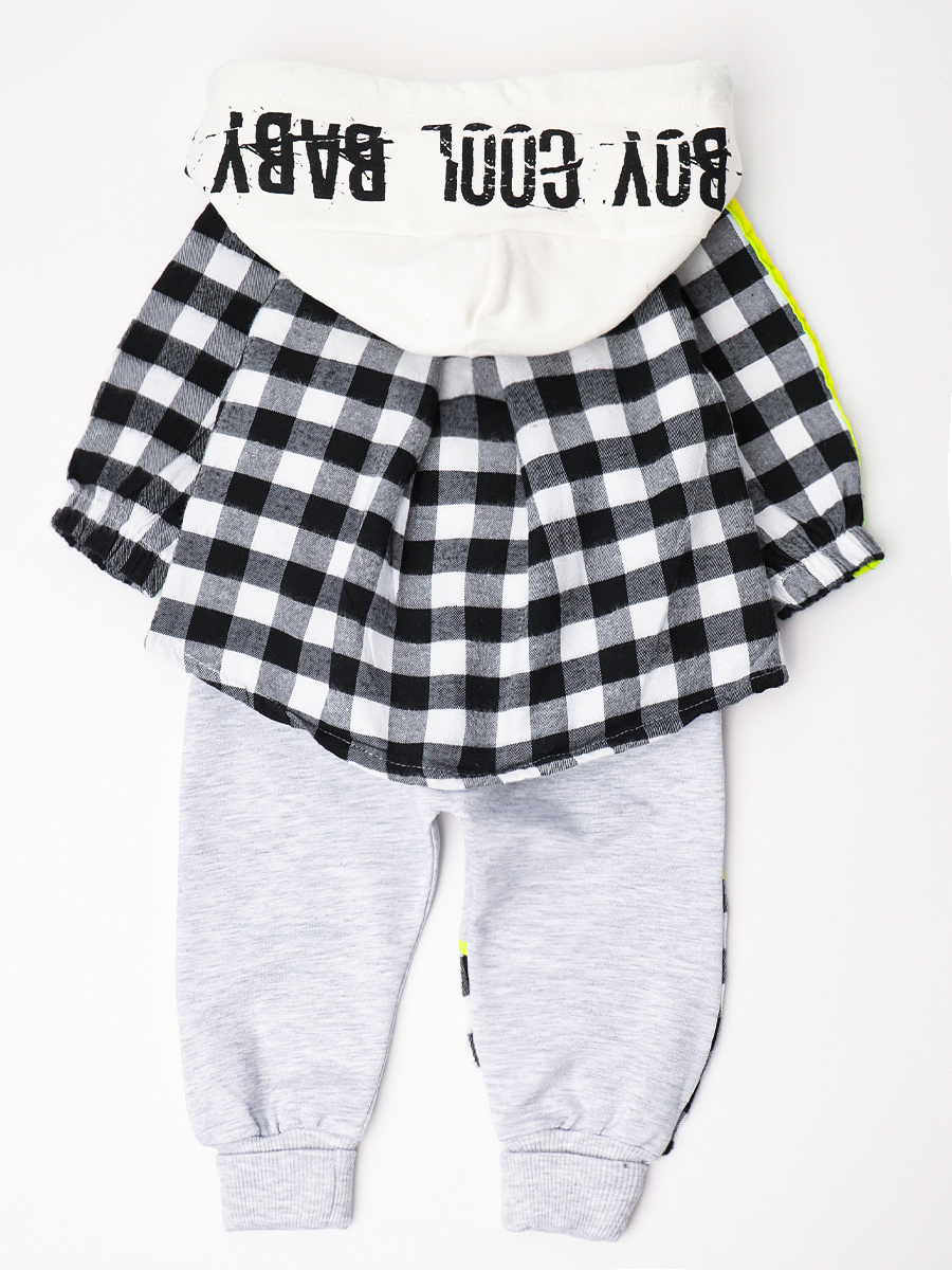Комплект для мальчика: кофточка, рубашка, штанишки, цвет: неон жёлтый