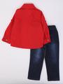Комплект для мальчика: рубашка, брюки джинсовые, бабочка, цвет: красный