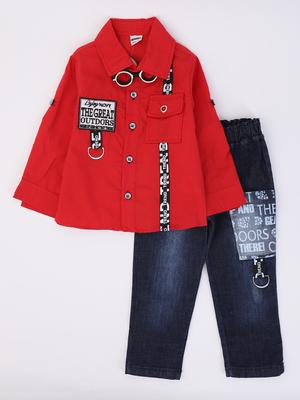 Комплект для мальчика: рубашка, брюки джинсовые, бабочка