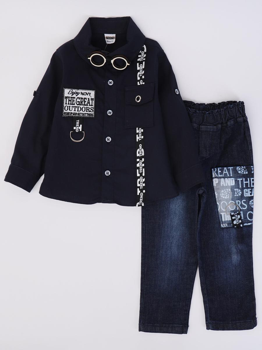 Комплект для мальчика: рубашка, брюки джинсовые, бабочка, цвет: темно-синий
