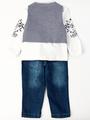 Комплект для мальчика: кофточка, брюки джинсовые, жилет, цвет: бордовый