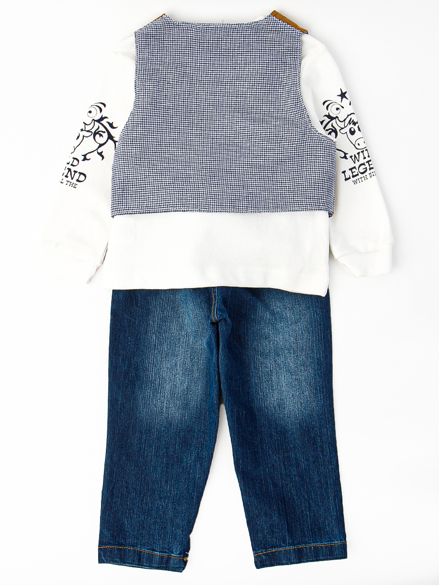 Комплект для мальчика: кофточка, брюки джинсовые, жилет, цвет: бежевый
