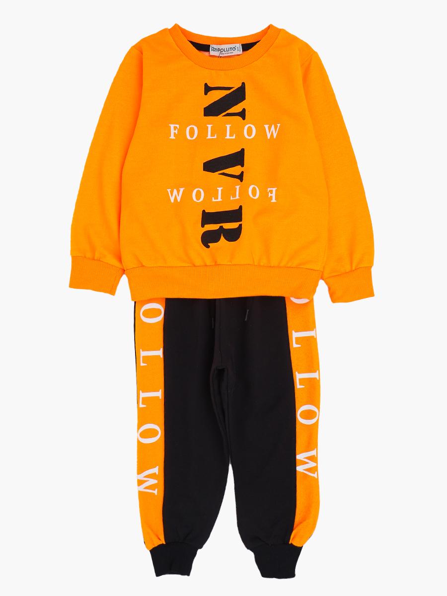 Комплект для мальчика: толстовка и штанишки, цвет: неон оранжевый