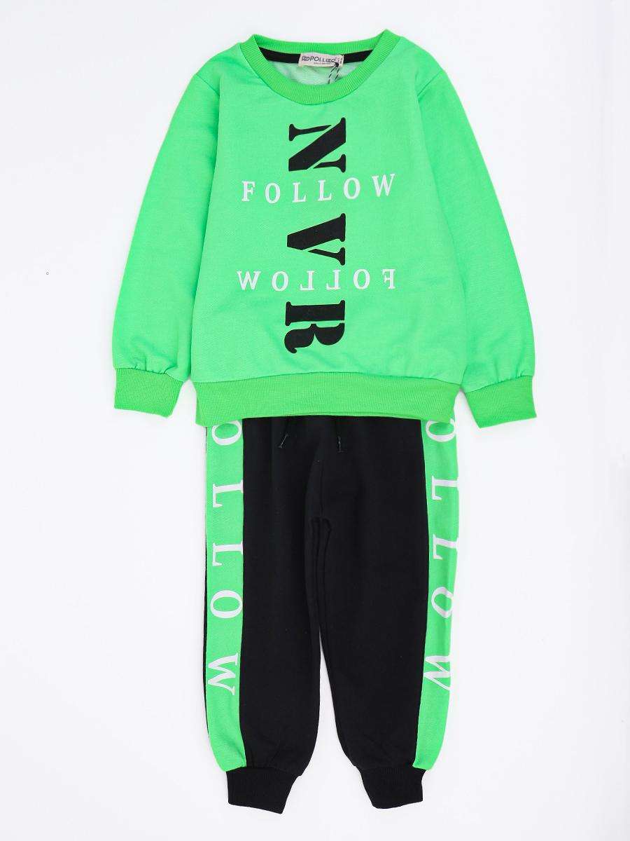 Комплект для мальчика: толстовка и штанишки, цвет: неон зеленый